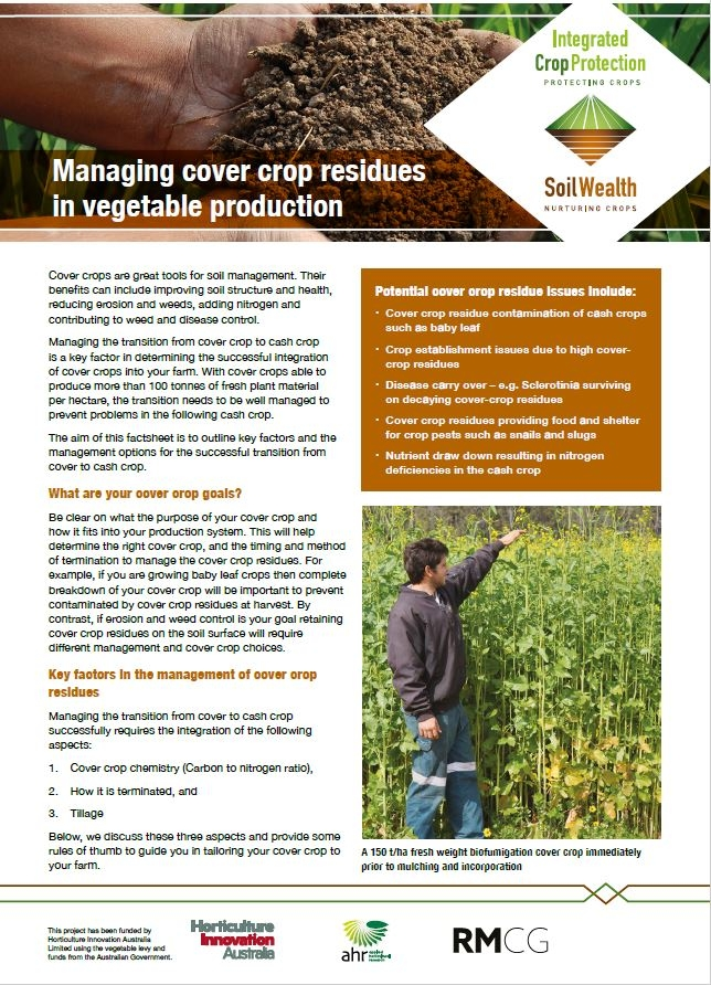 Managing cover crop residues in vegetable production
