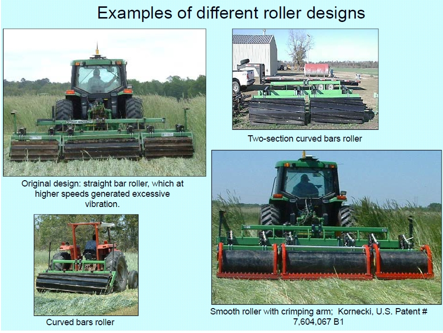 Roller crimper designs for cover crop management
