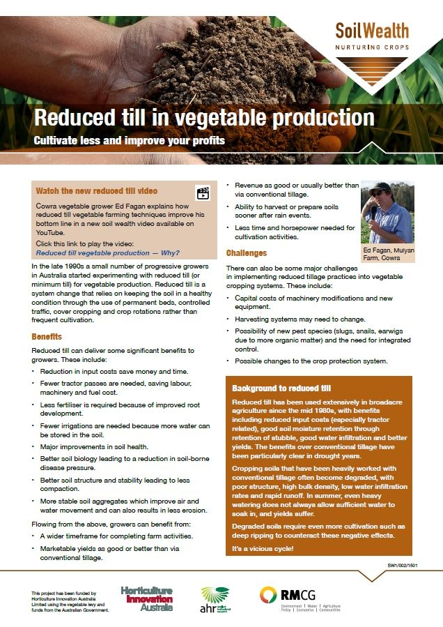 Reduced till in vegetable production