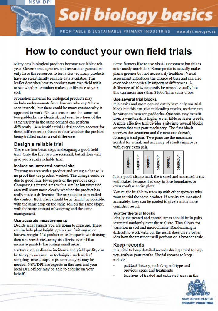 How to conduct your own field trials