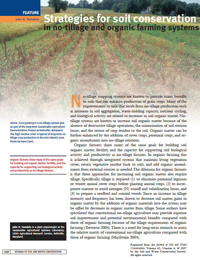 Strategies for soil conservation in no-tillage and organic farming systems