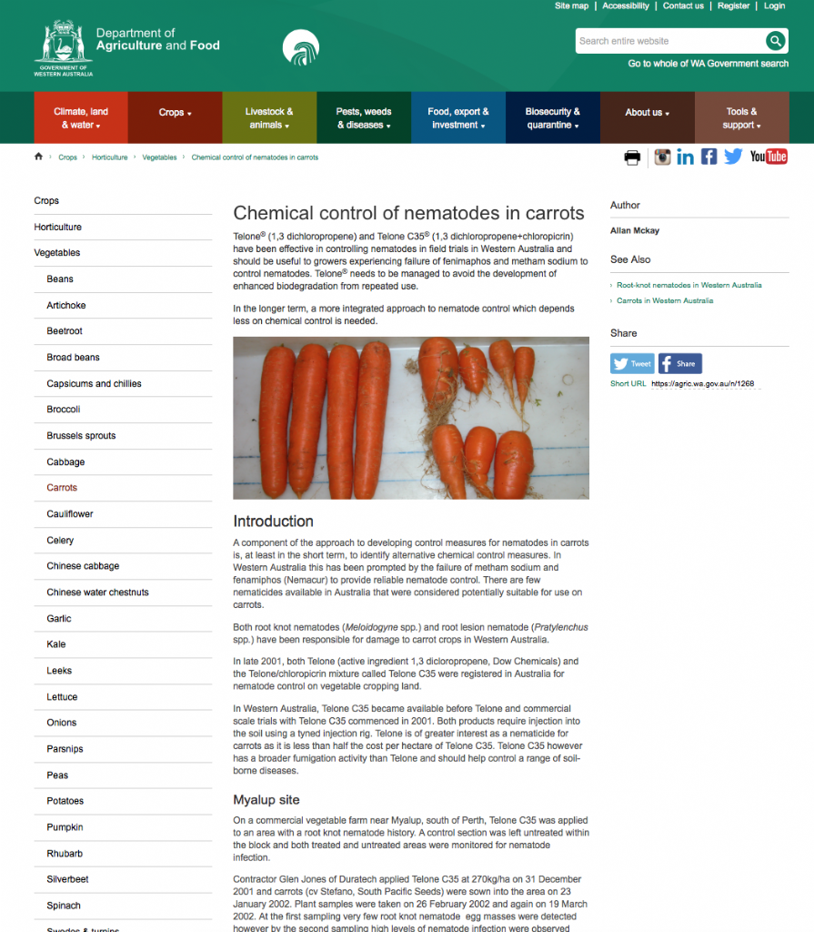 Chemical control of nematodes in carrots