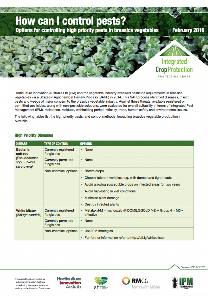 How can I control pests? Options for controlling high priority pests in brassica vegetables