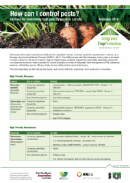 How can I control pests? Options for controlling high priority pests in carrots