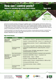 How can I control pests? Options for controlling high priority pests in lettuce