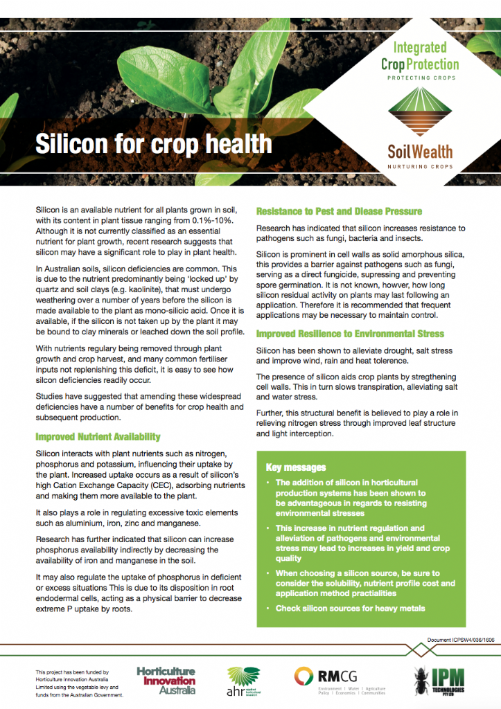 Silicon for crop health
