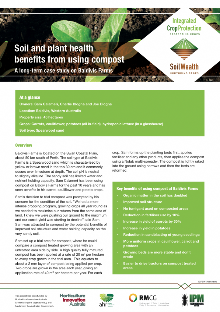 Soil and plant health benefits from using compost: A long-term case study on Baldivis Farms