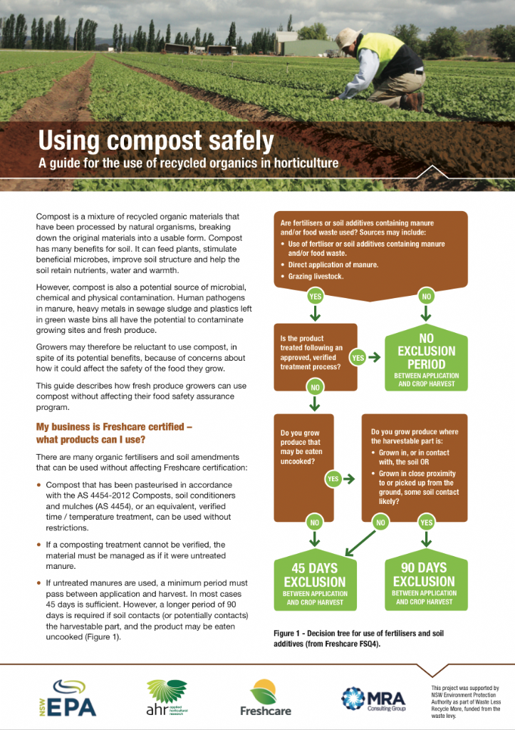 Using compost safely: A guide for the use of recycled organics in horticulture