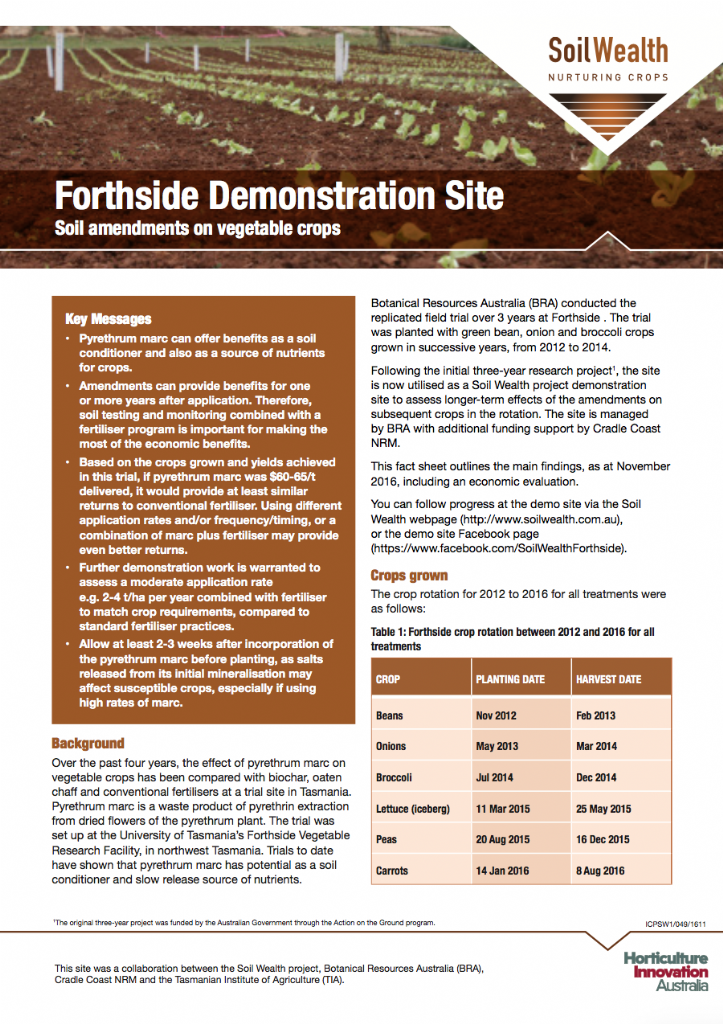 Forthside Demonstration Site: Soil amendments on vegetable crops