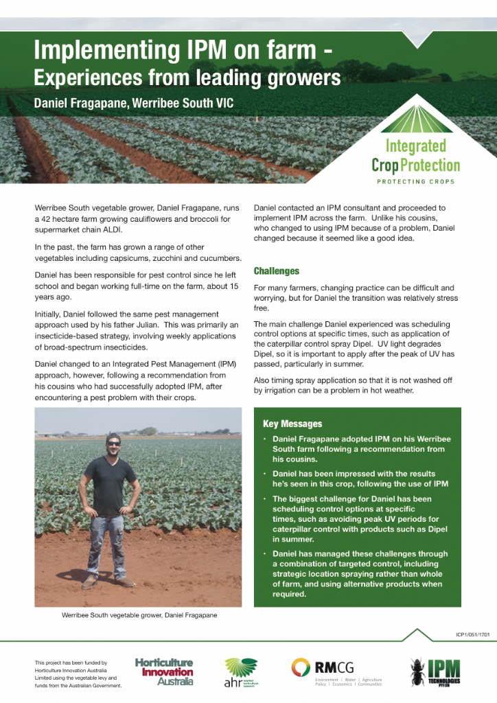 Implementing IPM on farm - experiences from leading growers: Daniel Fragapane, Werribee South VIC