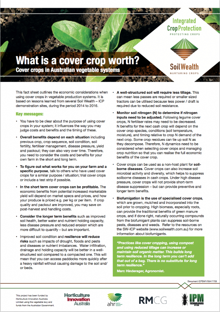 What is a cover crop worth? Cover crops in Australian vegetable systems