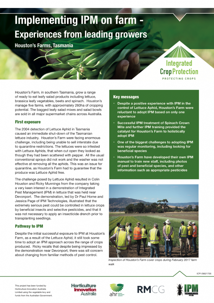 Implementing IPM on farm - experiences from leading growers: Houston's Farms, Tasmania