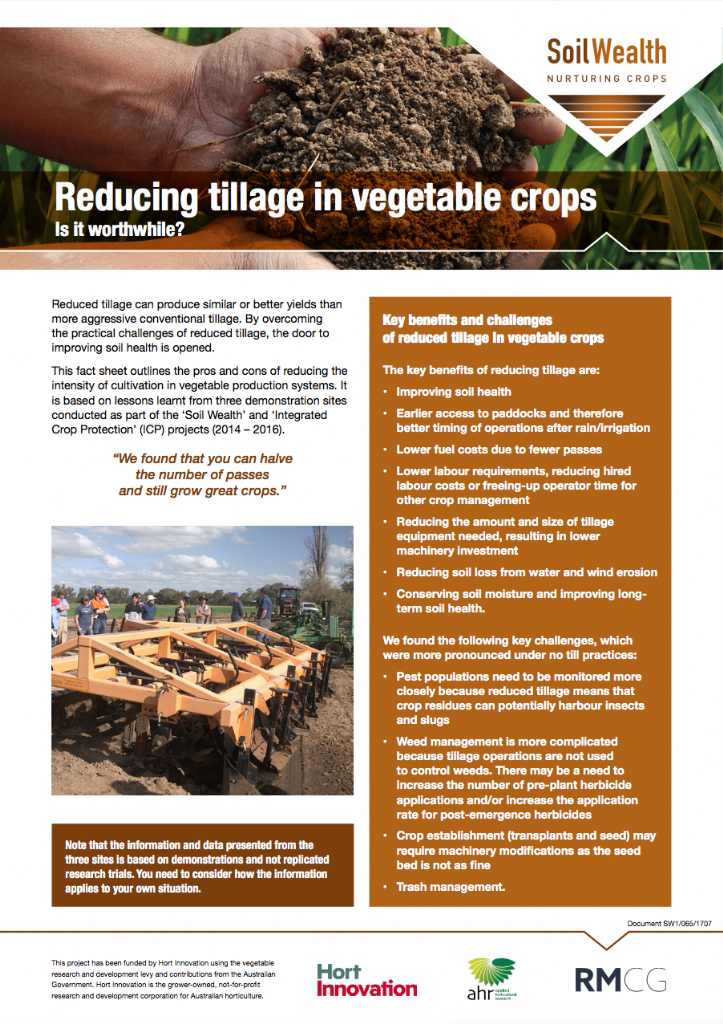 Reducing tillage in vegetable crops: Is it worthwhile?