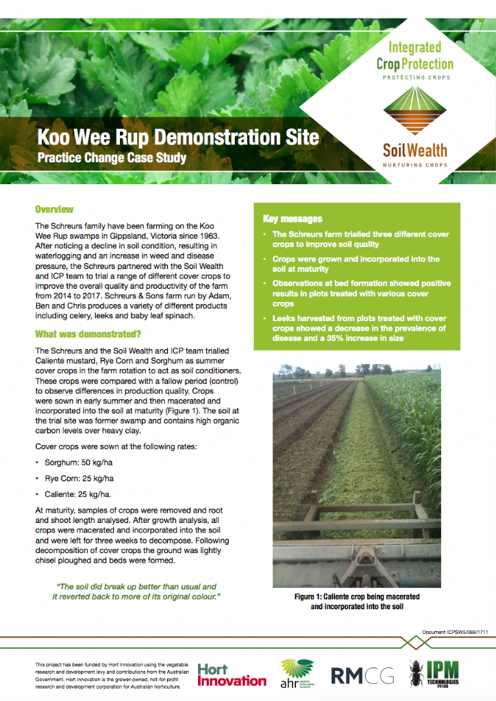 Koo Wee Rup Demonstration Site: Practice Change Case Study
