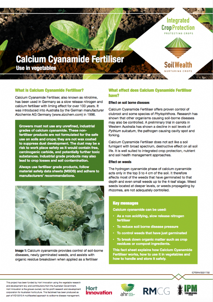 Calcium Cyanamide Fertiliser; Use in vegetables