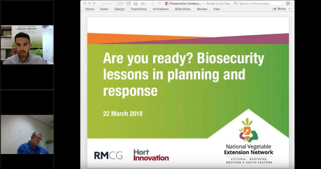 Biosecurity lessons in planning and response for the vegetable industry (webinar recording)