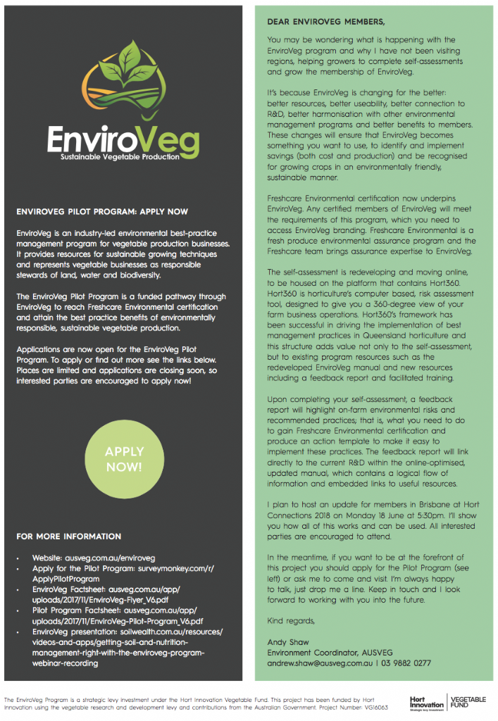 EnviroVeg Pilot Program: Apply Now