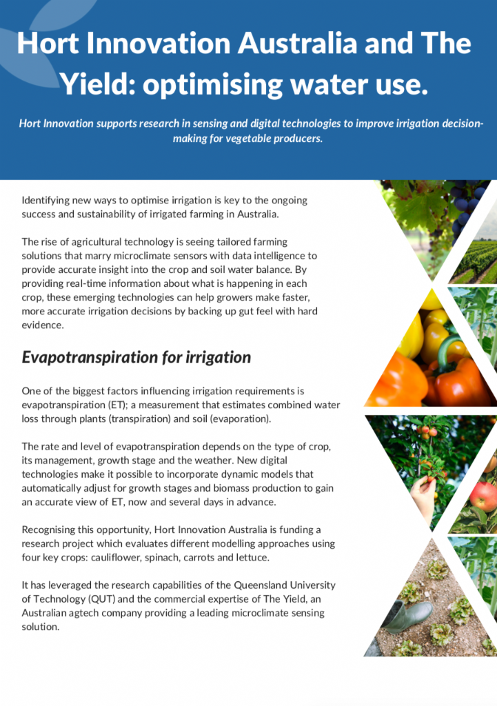 Hort Innovation and The Yield: optimising water use