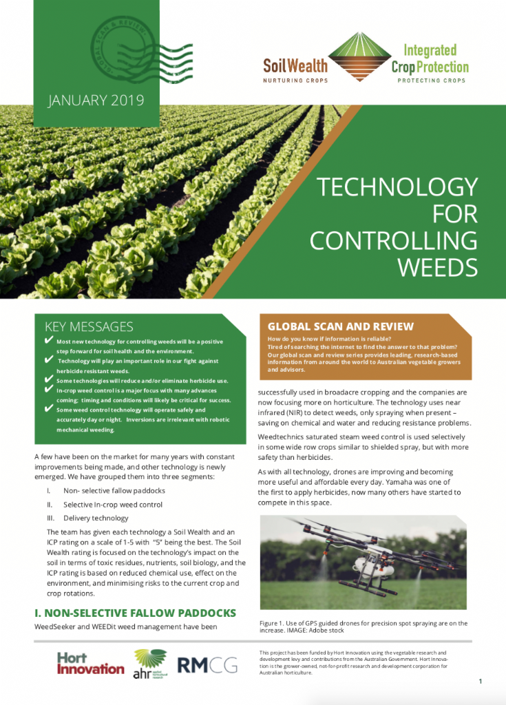 Technology for controlling weeds