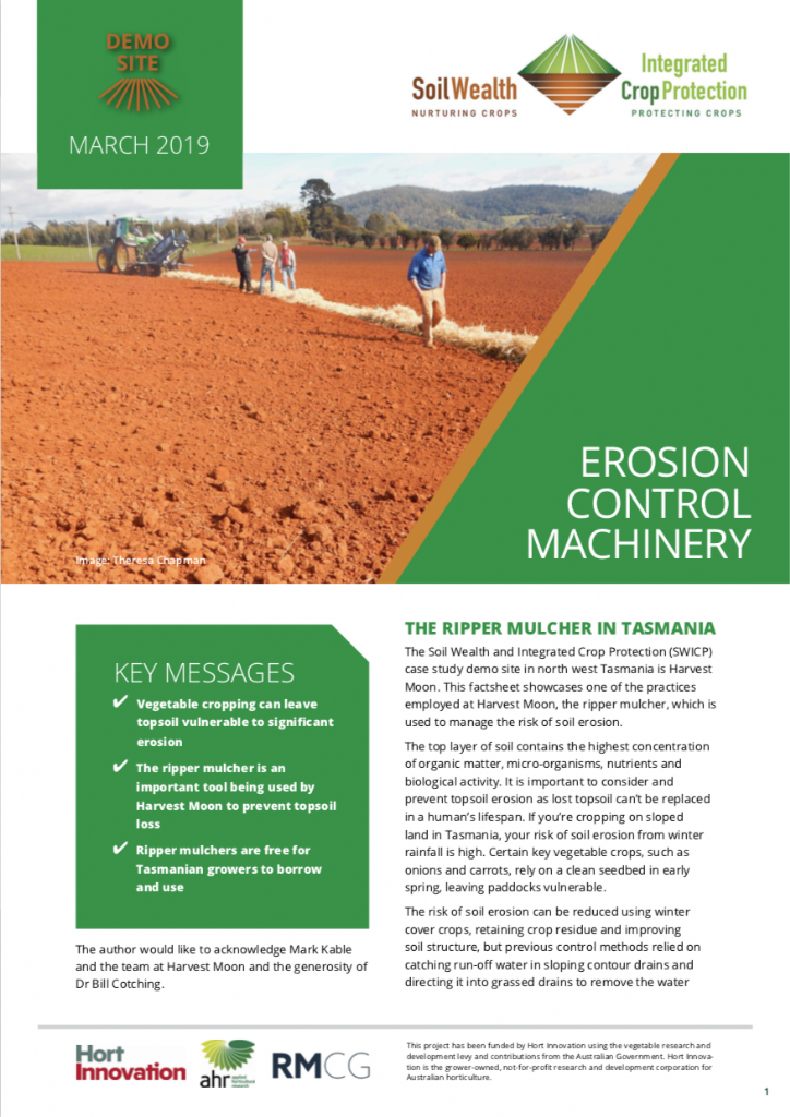 Erosion control machinery - Harvest Moon, TAS case study demonstration site