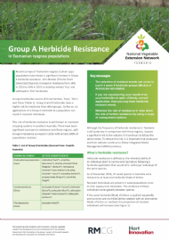 Group A Herbicide Resistance in Tasmanian ryegrass populations
