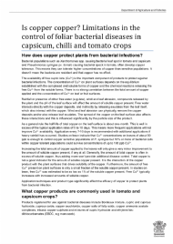 Is copper copper? Limitations in the control of foliar bacterial diseases in capsicum, chilli and tomato crops